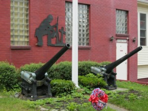 Cannons and memorial in front of Legion Post, Cohoes, NY