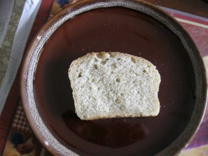 A slice of homemade sourdough bread
