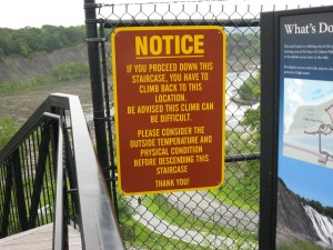 Sign at steps leading down to Cohoes Gorge.
