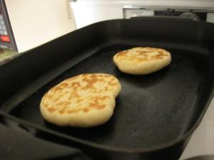 Sourdough pita, baking.