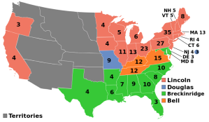 Map of results of the 1860 presidential election.
