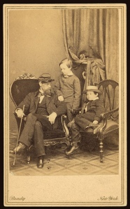 Willie and younger brother Tad Lincoln, with their cousin, in 1861.