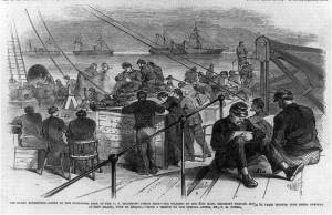 Federal troops on board ship writing home