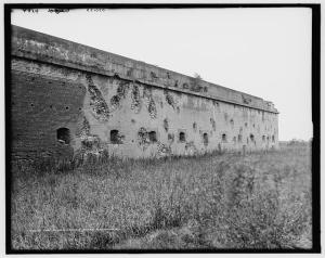 Fort Pulaski, Civil War battle damage seen in the early 1900s.