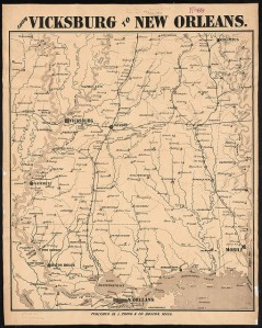 Map from New Orleans to Vicksburg.