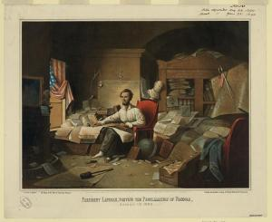 Lincoln writing Emancipation Proclamation