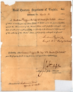 Confederate parole document from 1865