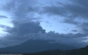 Popocatepetl's train of exhalations this evening