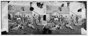 Stereograph of contrabands near Yorktown, 1862.