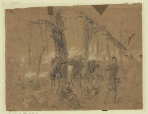 "US troops ""fighting in the woods"" at Glendale"