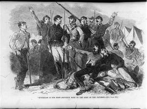 Union troops in camp, cheering General McClellan.