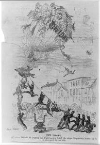 """Harper's Weekly,"" 1862:  ""The Draft. All other methods of evading the Draft having failed, the above Disgraceful Scheme is to be attempted on the 10th."""