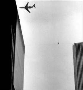 Philippe Petit wire-walking at WTC in 1974