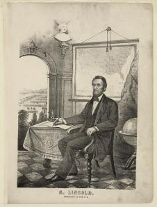 "Lithograph:  ""A. Lincoln, President of the U.S."""