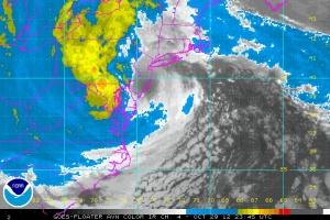 AVN image of Sandy at landfall.