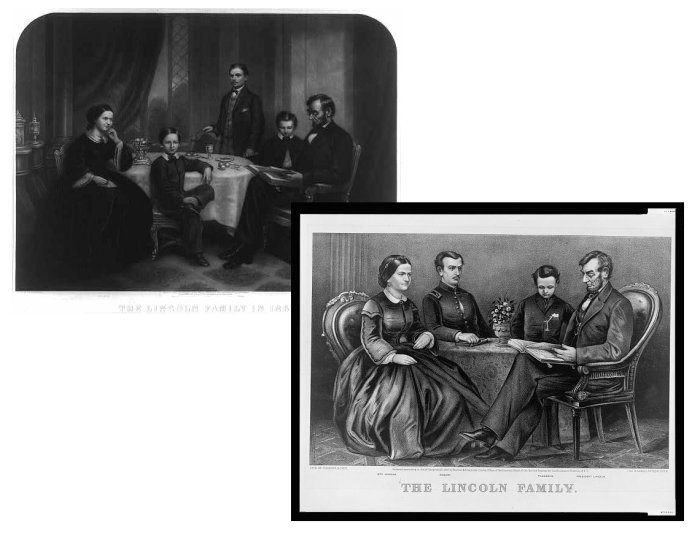 Images of the Lincoln family from 1861 and 1867.  (Library of Congress)