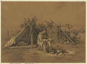 A Christmas dinner. A scene on the outer picket line.  (Edwin Forbes, ca. 1876, at Library of Congress)
