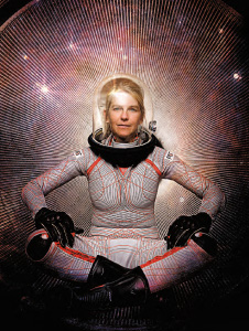 Prof. Dava Newman wears the suit.