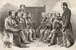 A group of working men attend a free evening class in 1862.  (Dickinson Brothers)