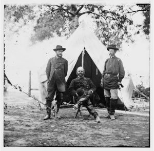 General Burnside and staff officers in November 1862.  (Library of Congress)