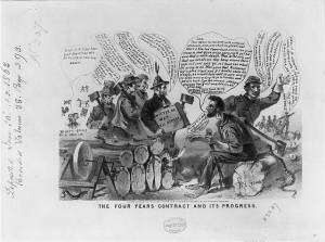 Anti-Lincoln political cartoon published in Boston.  Text is transcribed here. (Library of Congress)