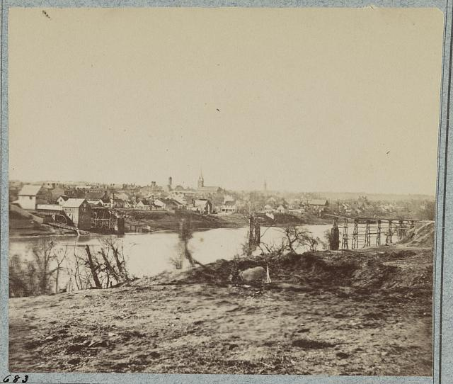 Fredericksburg from the US side of the Rapahannock during the winter of 1863 - misery, indeed.  (Library of Congress)