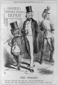 "View from Britain:  Cartoon showing Lord Punch saying, ""That was Jeff Davis, Pam! Don't you recognise him?"" and Lord Pam replying ""Hm! Well, not exactly--may have to do so some of these days."" Sign reads ""America, another federal defeat"".  (Library of Congress)"