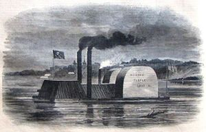 """Fake ironclad, """"Black Terror,"""" per """"Harper's Weekly.""""  (Wikipedia, Library of Congress)"""
