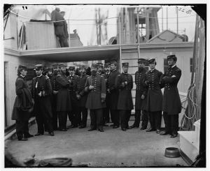 "Admiral Porter and staff aboard his flagship, the ""Malvern,"" later in the war.  (Library of Congress)"