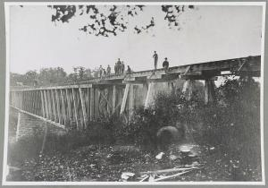 A bridge over the Duck River, some time during the Civil War.  (Library of Congress)