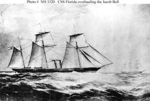 The CS Florida capturing the merchant ship Jacob Bell.  (U.S. Naval Historical Center)