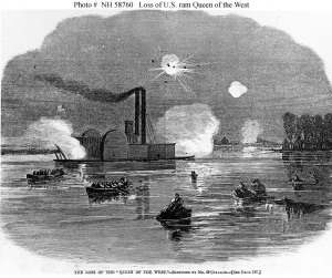 """""""The Loss of the 'Queen of the West,'"""" on February 14, 1863, by Mr. McCullagh, in """"Harper's Weekly.""""  (U.S. Naval Historical Center)"""