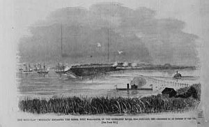 """The """"USS Montauk"""" at Fort McAllister a month earlier, per """"Harper's Weekly.""""  (Library of Congress)"""