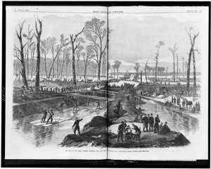 """""""The head of the canal, opposite Vicksburg, Miss., now being cut by command of Gen. Grant,"""" in Leslie's, 1863.   (Library of Congress)"""