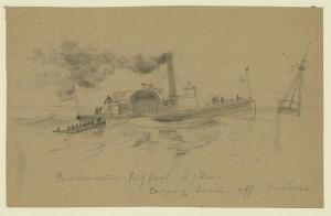 A Civil War-era US tugboat, by A. R. Waud (Library of Congress)
