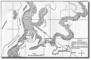 Col. Wilson was the US Army's chief topographical engineer; this is one of his maps of the Yazoo Pass area. (Source)