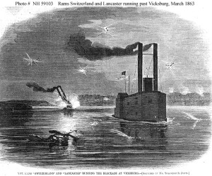 "Theodore Davis's image of the rams running Vicksburg, in ""Harper's Weekly.""  (US Naval Historical Center)"