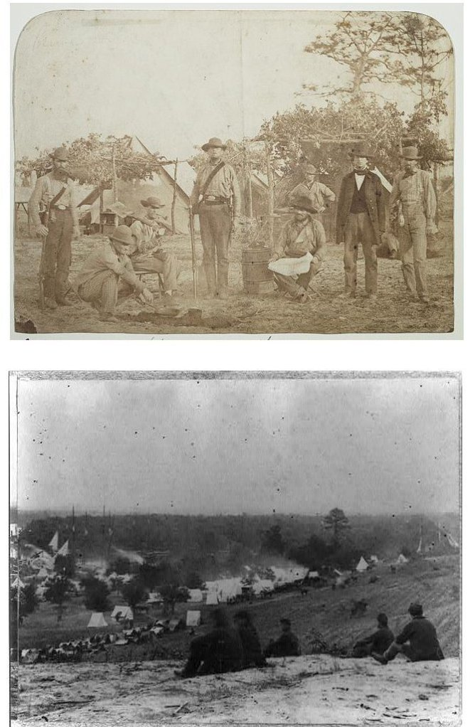 Company B of the 9th Mississippi in Florida, 1861 (top) and Army of the Potomac encamped at Cumberland Landing, 1862 (bottom)