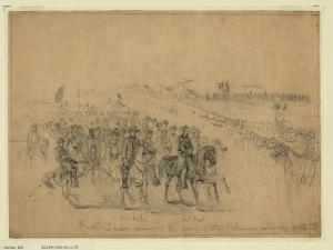 Edwin Forbes picture of Lincoln reviewing the Army of the Potomac (though not on the 6th because of bad weather).