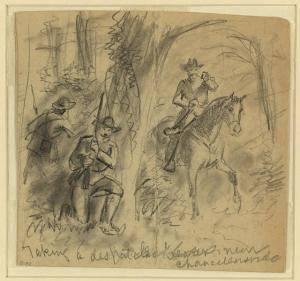 Two snipers behind a tree, preparing to ambush a despatch rider at Chancellorsville.  (A.R. Waud, Library of Congress)