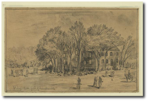 """""""The Army of the Potomac marching from the Wilderness to Spotsylvania. Passing the ruins of the Chancellorsville House burned during the battle of Chancellorsville""""  E. Forbes.  Library of Congress"""