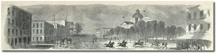 """""""Raising the Stars and Stripes over the Capitol of the State of Mississippi.""""  Harper's Weekly."""
