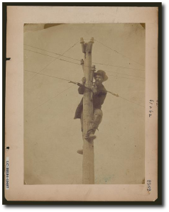 A civilian repairing telegraph lines in 1863 or 1863.  Library of Congress