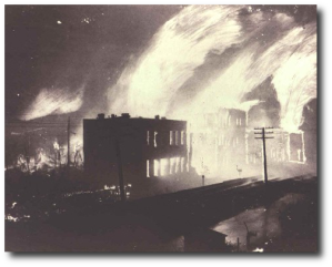I found no images of the Oiltown raid, but it probably looked like this 1901 fire in another oil down, Salem, West Virginia.