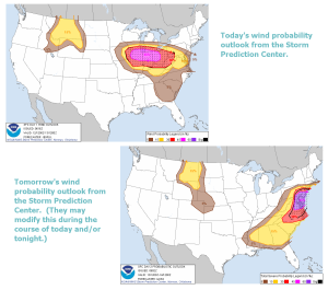 Storm Prediction Center, NOAA.  Day 1 and 2 convective outlooks for wind. (Click to enlarge)