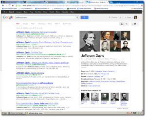 Google believes Jefferson Davis was born in the Confederacy in 1808! (click to enlarge)