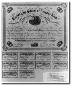 A Confederate bond based on the Erlanger loan.  Library of Congress