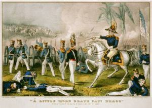 General Taylor gives orders to Captain Braxton Bragg at Buena Vista.  Library of Congress.