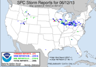 SPC storm reports for June 12, 2013.