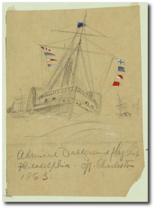 Admiral Dahlgren's flagship off Charleston in 1863.  A. R. Waud.  Library of Congress